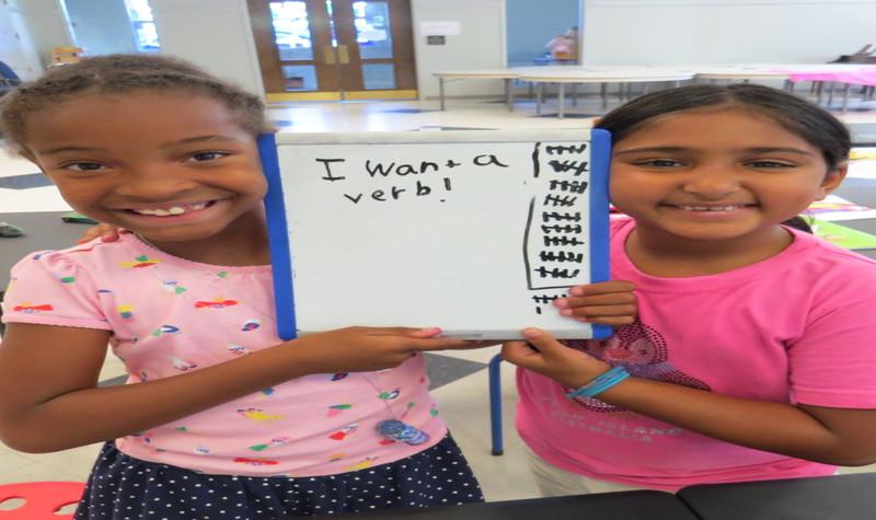 Children write a silly sentence