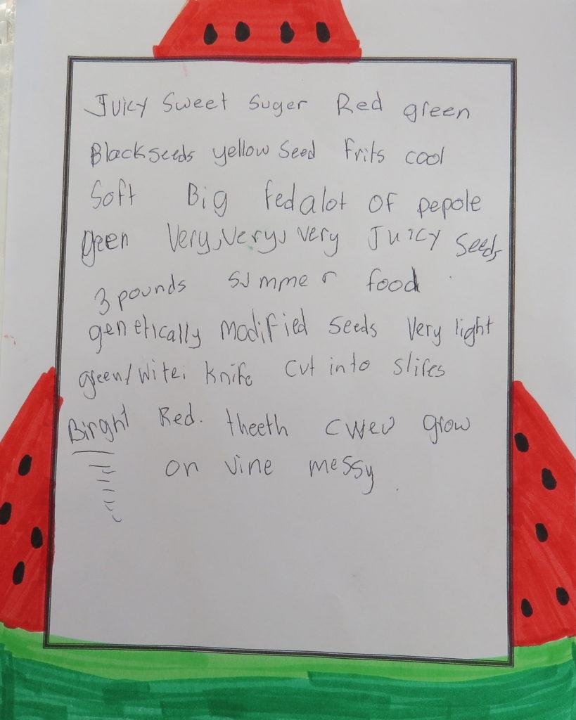Descriptive words about watermelon