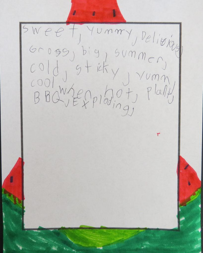 A list of descriptive words about watermelon