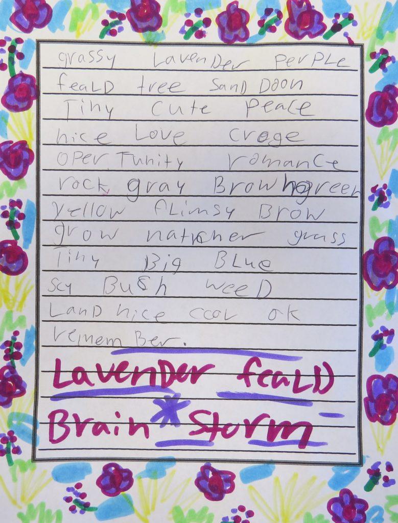A child's list of descriptive words about lavendar