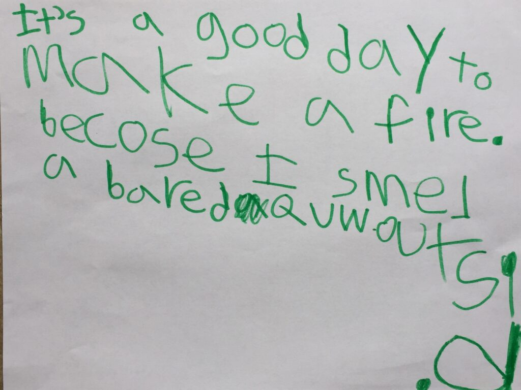 A child's written note